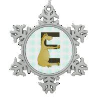 Cute Cartoon Pony Monogram E Snowflake Pewter Christmas Ornament