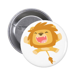 Cute Cartoon Pouncing Lion Button Badge
