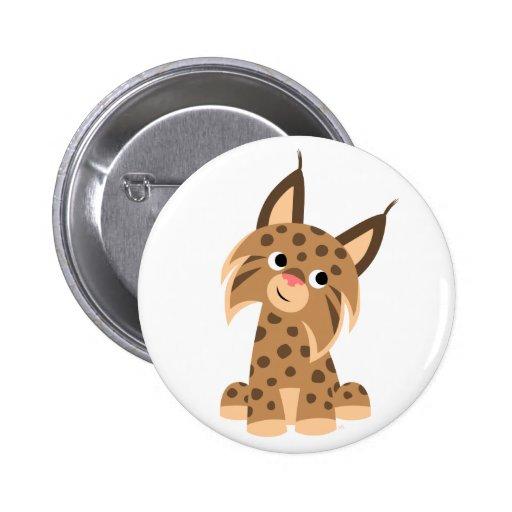 Cute Cartoon Prankish Lynx Button Badge
