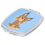 Cute Cartoon Prankish Lynx Compact Mirror