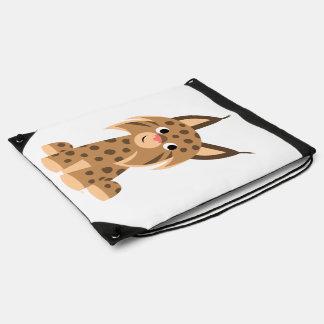Cute Cartoon Prankish Lynx Drawstring Back Pack Drawstring Bag
