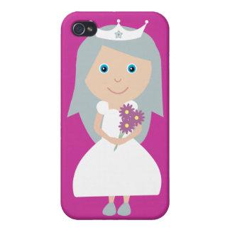 Cute Cartoon Princess Customizable Pink Cases For iPhone 4