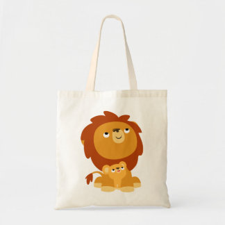 Cute Cartoon Protective Dad Lion and Cub Bag