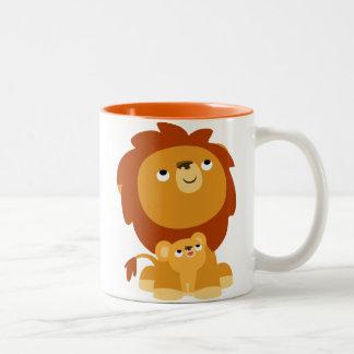 Cute Cartoon Protective Dad Lion and Cub Mug