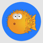 Cute Cartoon Puffer Fish Classic Round Sticker