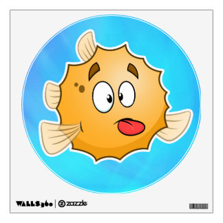 cute cartoon puffer fish wall decor
