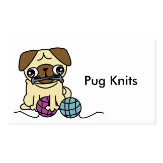 Cute cartoon pug knit knitting Business Card