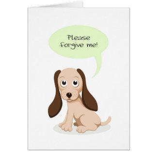 Cute cartoon puppy dog Please forgive me card
