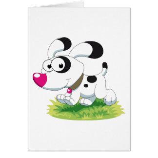 Cute Cartoon Puppy Running on the Grass Card