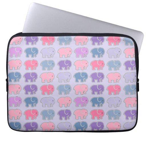 Cute Cartoon Purple Elephant Pattern Laptop Sleeve