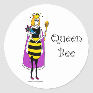 Cute cartoon Queen Bee Classic Round Sticker