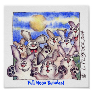 Cute Cartoon Rabbit Full Moon Poster Print