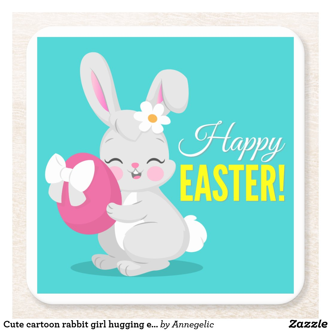 Cute cartoon rabbit girl hugging easter egg square paper coaster