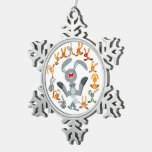 Cute Cartoon Rabbits Mandala Pewter Ornament Ornament