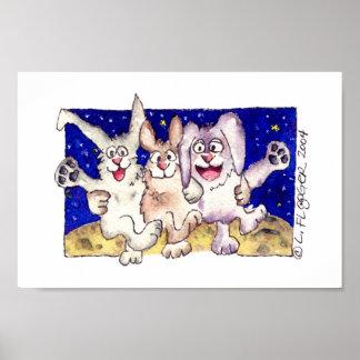 Cute Cartoon Rabbits Moon Dancing Poster Print