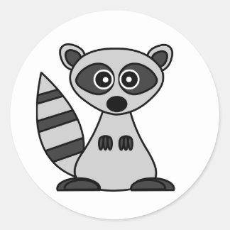 Cute Cartoon Raccoon Classic Round Sticker