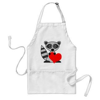 Cute Cartoon Raccoon Holding Heart Adult Apron