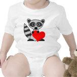 Cute Cartoon Raccoon Holding Heart Baby Creeper