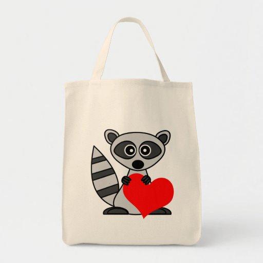 Cute Cartoon Raccoon Holding Heart Bags