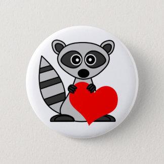 Cute Cartoon Raccoon Holding Heart Button