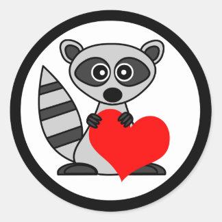 Cute Cartoon Raccoon Holding Heart Classic Round Sticker