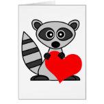 Cute Cartoon Raccoon Holding Heart Greeting Card