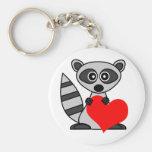 Cute Cartoon Raccoon Holding Heart Key Chains