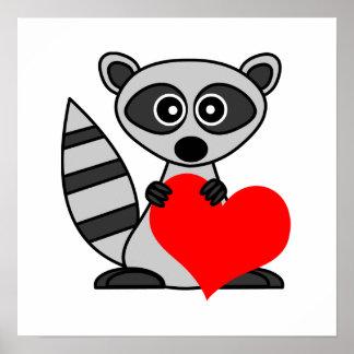 Cute Cartoon Raccoon Holding Heart Poster / Print