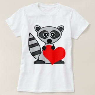 Cute Cartoon Raccoon Holding Heart T-Shirt