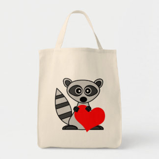 Cute Cartoon Raccoon Holding Heart Tote Bag