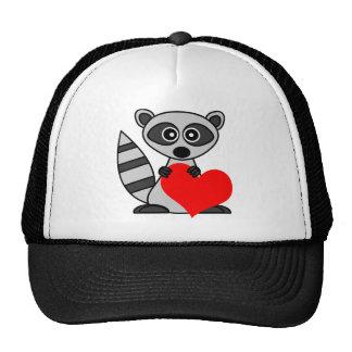 Cute Cartoon Raccoon Holding Heart Trucker Hat