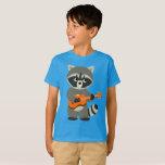 Cute Cartoon Raccoon Playing Guitar Kids T-Shirt