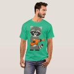 Cute Cartoon Raccoon Playing Guitar T-Shirt