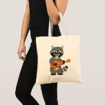 Cute Cartoon Raccoon Playing Guitar Tote Bag