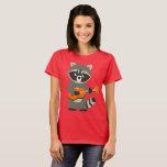 Cute Cartoon Raccoon Playing Guitar Women T-Shirt