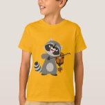 Cute Cartoon Raccoon Playing Violin Kids T-Shirt