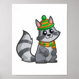 Cute Cartoon Raccoon Poster