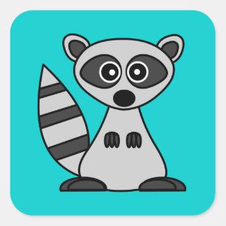 Cute Cartoon Raccoon Square Square Sticker