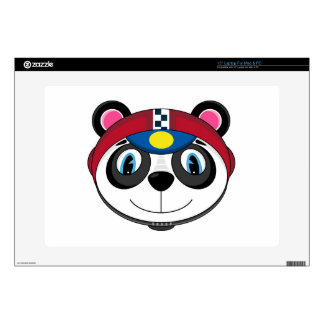 "Cute Cartoon Racing Car Panda 15"" Laptop Decal"
