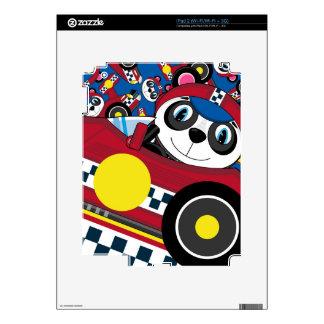 Cute Cartoon Racing Car Panda iPad 2 Skin