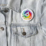 Cute Cartoon Rainbow White Lion Pinback Button