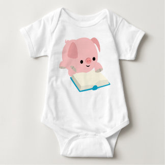 Cute Cartoon Reading Piglet  Baby Apprel Baby Bodysuit
