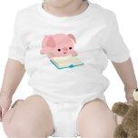 Cute Cartoon Reading Piglet  Baby Apprel Tshirt