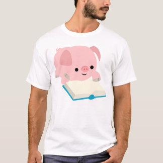 Cute Cartoon Reading Piglet  Children T-Shirt