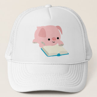Cute Cartoon Reading Piglet  Hat