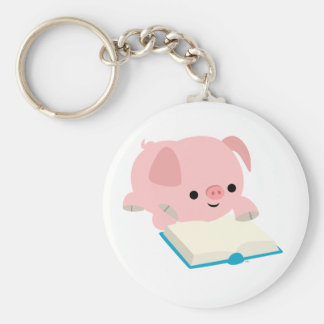 Cute Cartoon Reading Piglet  Keychain