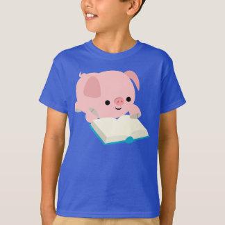 Cute Cartoon Reading Piglet Kids T-Shirt