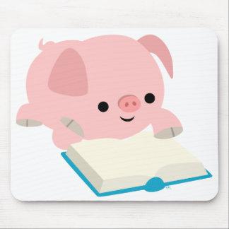 Cute Cartoon Reading Piglet  Mousepad