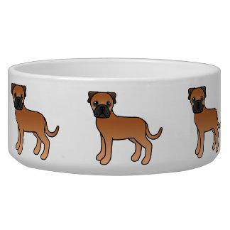 Cute Cartoon Red Bullmastiff Dogs Bowl