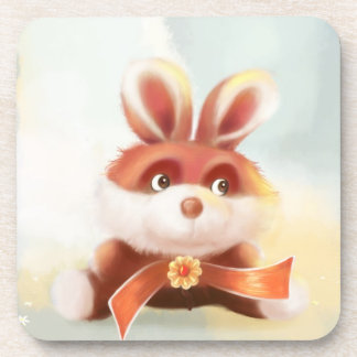 cute cartoon red bunny Cork Coaster